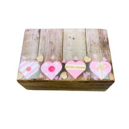 Ξύλινο διακοσμητικό κουτί 4 καρδιές – VL2109