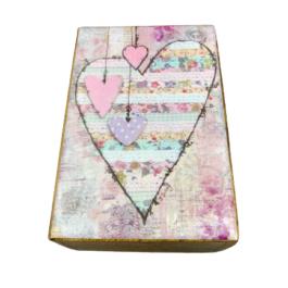 Ξύλινο διακοσμητικό κουτί pink hearts – VL2111