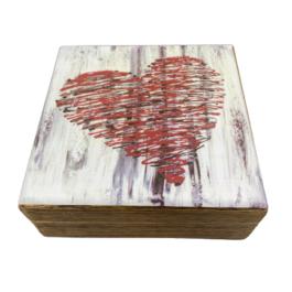 Ξύλινο διακοσμητικό κουτί γραμμική καρδιά  – VL2112