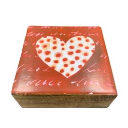 Ξύλινο διακοσμητικό κουτί κόκκινη πουά καρδιά  – VL2116