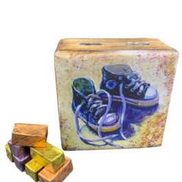 Ξύλινο διακοσμητικό κουτί μπλε παπουτσάκια SD2154